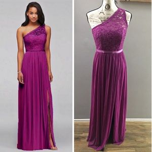 David's bridal fuchsia one shoulder lace dress